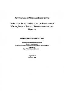 activation of welfare recipients: impacts of selected policies on ...