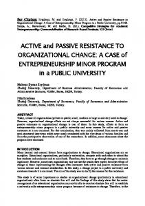 ACTIVE and PASSIVE RESISTANCE TO ORGANIZATIONAL CHANGE