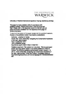 Active Citizenship - Warwick WRAP - University of Warwick