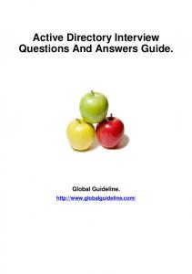 Active Directory Interview Questions And Answers Guide. - Tech ...