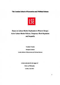 Active Labour Market - LSE Theses Online