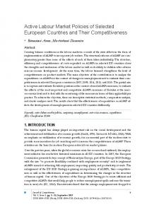 Active Labour Market Policies of Selected European Countries and ...
