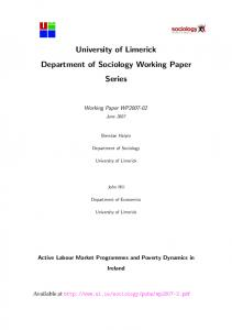 Active Labour Market Programmes and Poverty Dynamics in Ireland