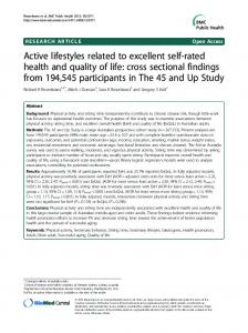 Active lifestyles related to excellent self-rated