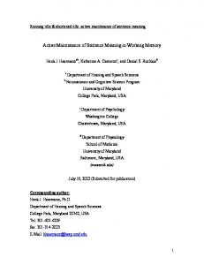 Active Maintenance of Sentence Meaning in Working Memory
