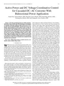 Active Power and DC Voltage Coordinative Control for ... - IEEE Xplore