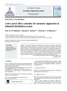 Active power filter controller for harmonic suppression in industrial