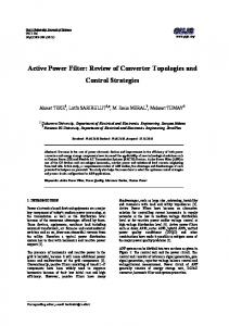 Active Power Filter: Review of Converter Topologies and ... - DergiPark