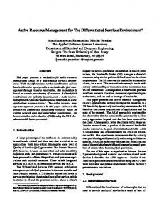 Active Resource Management for The Differentiated Services ...