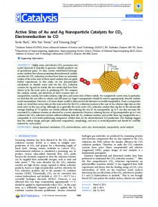 Active Sites of Au and Ag Nanoparticle Catalysts ... - ACS Publications