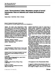 Active Thermochemical Tables: Dissociation Energies of Several ...