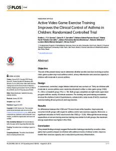 Active Video Game Exercise Training Improves the Clinical Control of ...