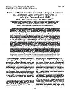 Activities of Mutant Prevention Concentration-Targeted Moxiffoxacin ...