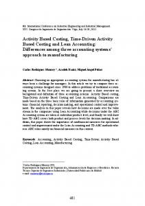 Activity Based Costing, Time-Driven Activity Based