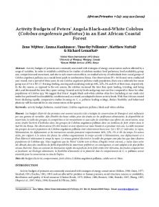 Activity Budgets of Peters' Angola Black-and-White Colobus (Colobus ...