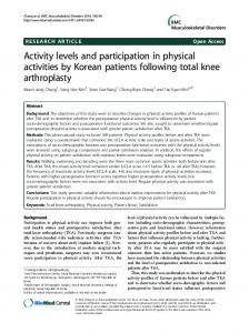 Activity levels and participation in physical