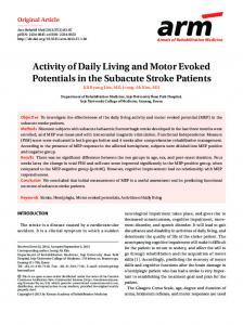 Activity of Daily Living and Motor Evoked ... - KoreaMed Synapse