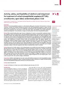 Activity, safety, and feasibility of cidofovir and imiquimod ... - The Lancet