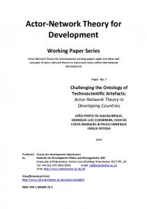 Actor‐Network Theory for Development - Cathie Marsh Institute for ...