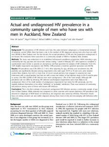 Actual and undiagnosed HIV prevalence in a community sample of ...