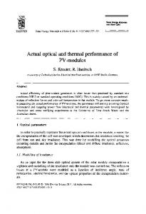 Actual optical and thermal performance of PV-modules - ScienceDirect