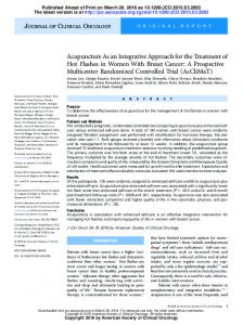 Acupuncture As an Integrative Approach for the Treatment of Hot ...