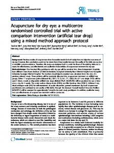 Acupuncture for dry eye: a multicentre randomised controlled trial with ...