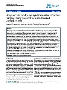 Acupuncture for dry eye syndrome after refractive surgery: study ...