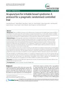 Acupuncture for irritable bowel syndrome: A protocol for a ... - CiteSeerX