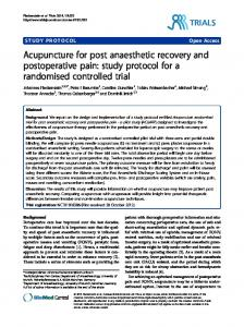 Acupuncture for post anaesthetic recovery and ... - CiteSeerX
