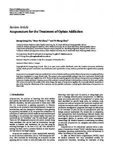 Acupuncture for the Treatment of Opiate Addiction