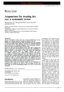 Acupuncture for treating dry eye: a systematic ... - Wiley Online Library