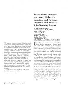 Acupuncture Increases Nocturnal Melatonin ... - Semantic Scholar