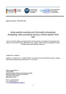Acute aerobic exercise and information processing - CiteSeerX