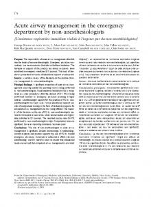 Acute airway management in the emergency ... - Springer Link