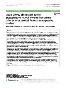 Acute airway obstruction due to postoperative retropharyngeal ...