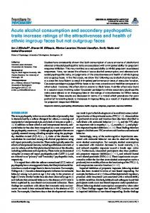 Acute alcohol consumption and secondary psychopathic ... - Frontiers