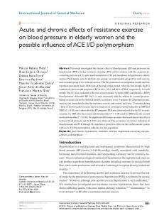 Acute and chronic effects of resistance exercise on ... - Semantic Scholar