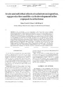 Acute and sublethal effects of cadmium on ingestion ... - Inter Research