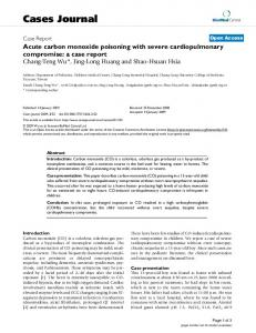 Acute carbon monoxide poisoning with severe cardiopulmonary ...