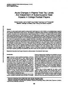 Acute Changes in Plasma Total Tau Levels Are ...