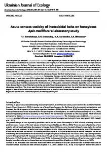 Acute contact toxicity of insecticidal baits on