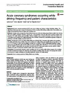 Acute coronary syndromes occurring while driving - Environmental ...