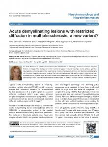 Acute demyelinating lesions with restricted diffusion in multiple sclerosis