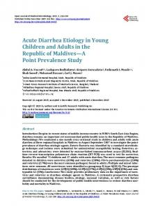 Acute Diarrhea Etiology in Young Children and Adults in the Republic ...