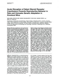 Acute Disruption of Select Steroid Receptor Coactivators Prevents ...