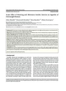 Acute Effect of Morning and Afternoon Aerobic