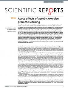 Acute effects of aerobic exercise promote learning