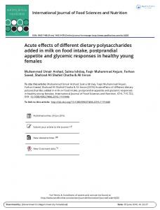 Acute effects of different dietary polysaccharides ...