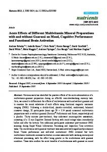 Acute Effects of Different Multivitamin Mineral ... - BioMedSearch